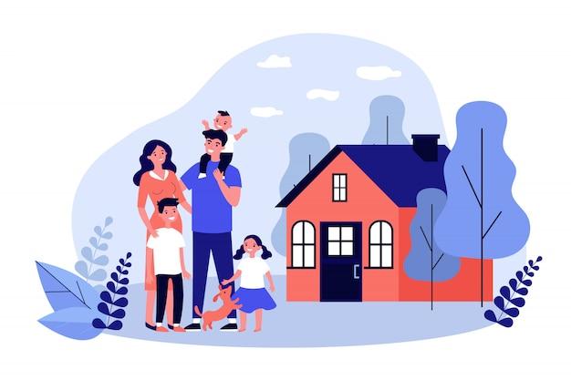 Coppie felici della famiglia con i bambini e l'animale domestico che stanno insieme Vettore Premium