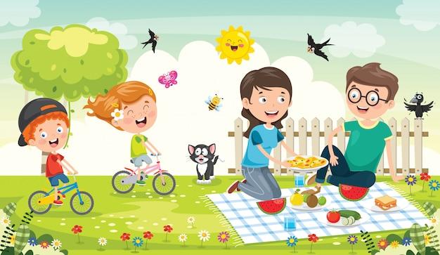 Famiglia felice che fa picnic alla natura Vettore Premium