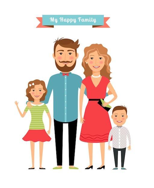 Famiglia felice. genitori e figli. figlia e padre, madre e ragazza e figlio. illustrazione vettoriale Vettore Premium