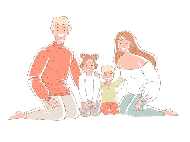 Famiglia felice che si siede sul pavimento Vettore Premium