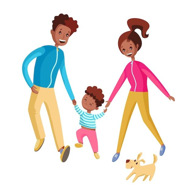 Una famiglia felice cammina insieme. Vettore Premium