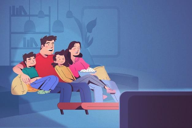 Famiglia felice a guardare la tv insieme Vettore Premium