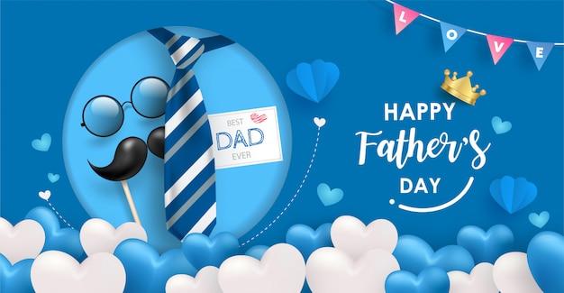 Modello di bandiera felice festa del papà. molti palloncini cuore blu e bianco su sfondo blu con elementi di cravatta, occhiali e baffi. Vettore Premium
