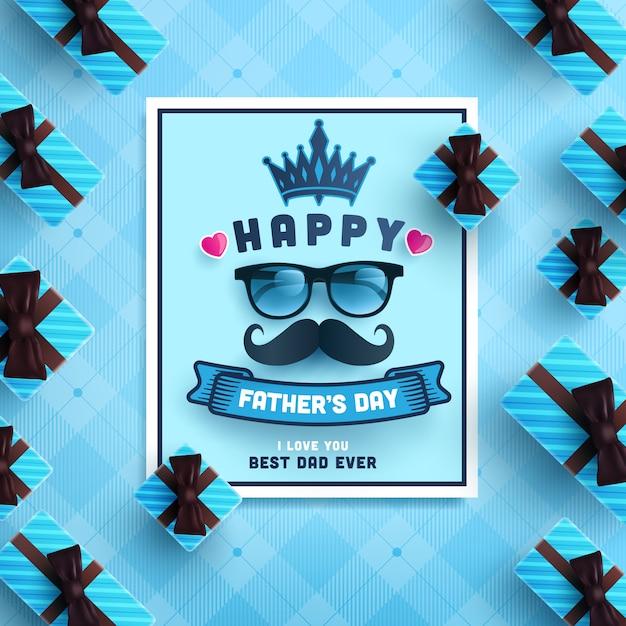 Carta di festa del papà felice con il contenitore di regalo su fondo blu. Vettore Premium