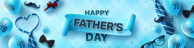 Insegna felice di saluti di celebrazione di festa del papà Vettore Premium