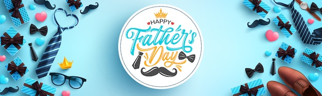 Felice festa del papà saluti celebrazione. Vettore Premium