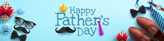 Manifesto di festa del papà felice o modello dell'insegna con la cravatta, i vetri e il contenitore di regalo sul blu Vettore Premium
