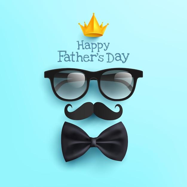 Manifesto felice di festa del papà con i vetri, la carta dei baffi e il farfallino sul blu Vettore Premium