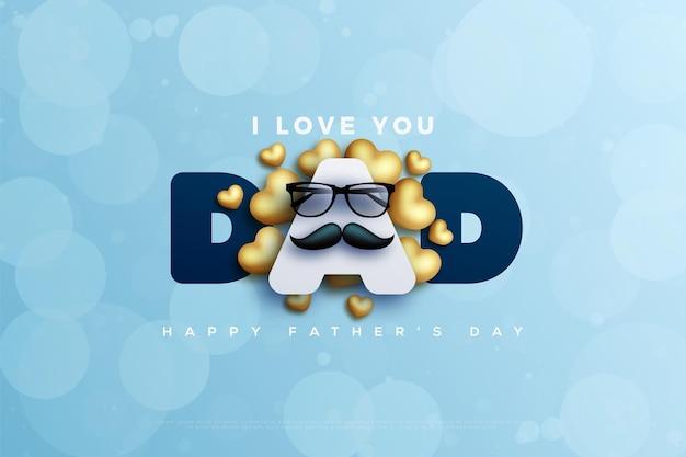 Buona festa del papà con baffi e occhiali davanti alla lettera a. Vettore Premium