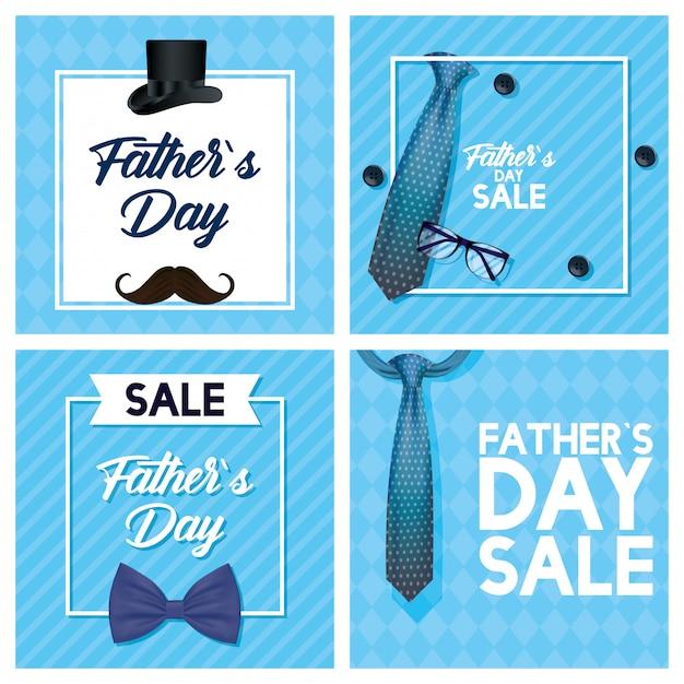 Biglietto festa del papà felice con cravatta e occhiali da vista Vettore Premium