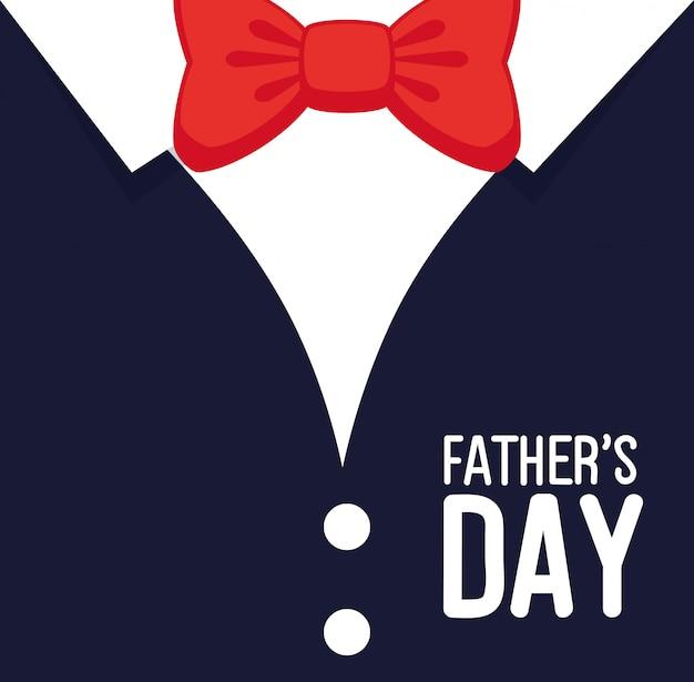Felice giorno del papà card con camicia e papillon Vettore Premium