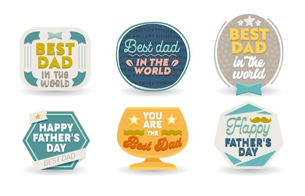 Happy fathers day set di biglietti di auguri Vettore Premium