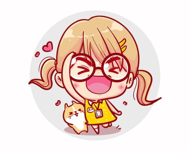 Saluti ragazza felice e design del personaggio sorriso Vettore Premium