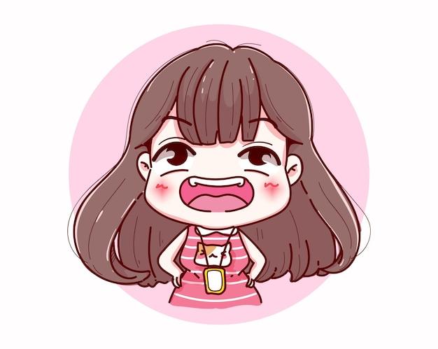 Ragazza felice ridere e sorridere character design Vettore Premium