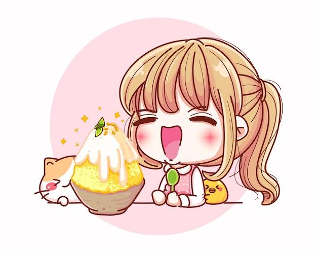 Ragazze felici che mangiano gelato e disegno del personaggio dei cartoni animati. Vettore Premium