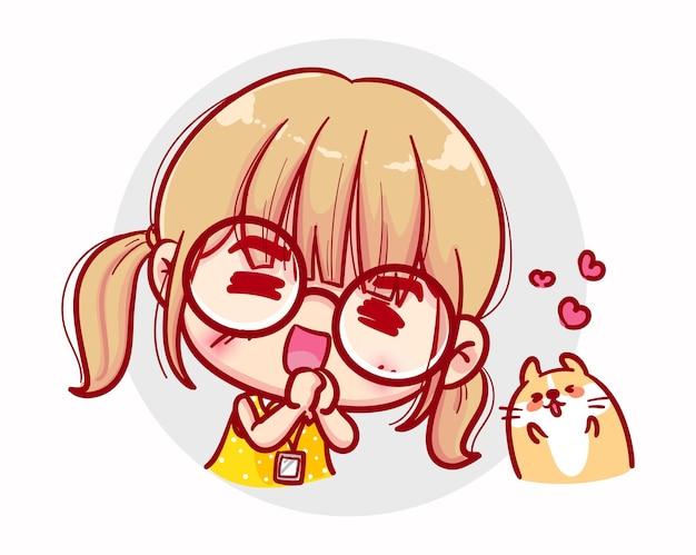 Le ragazze felici amano e il design del personaggio di san valentino Vettore Premium