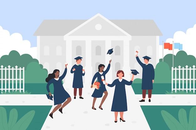 Illustrazione di studenti laureati felice. giovani piatti del fumetto di diverse nazioni che saltano con cappuccio, certificato o diploma nelle mani, personaggi che celebrano il fondo di istruzione di laurea Vettore Premium