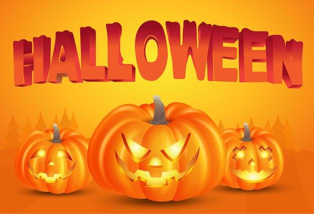 Felice sfondo di halloween con zucche e tipografia di halloween su sfondo arancione. illustrazione per happy halloween card, flyer, banner e poster Vettore Premium
