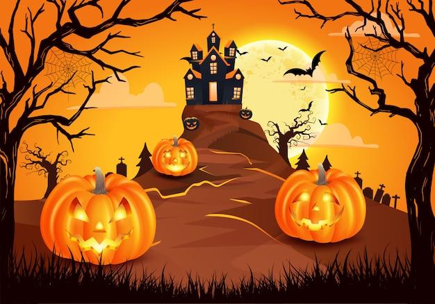 Sfondo di halloween felice con zucche spaventose con castello spettrale, pipistrelli volanti e luna piena. illustrazione per happy halloween card, flyer, banner e poster Vettore Premium