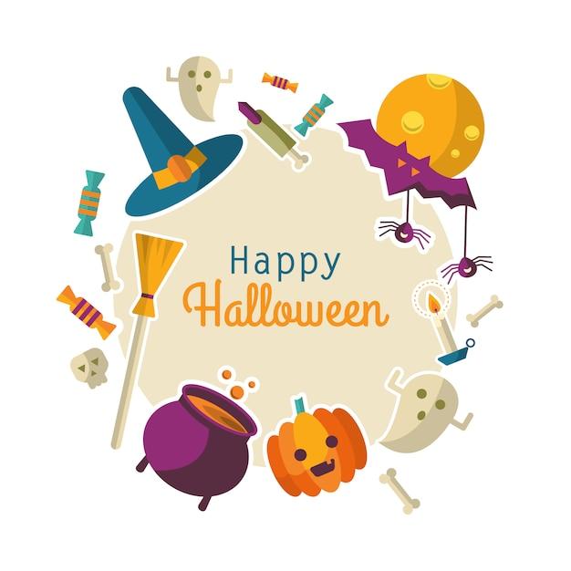 Sfondo di halloween felice Vettore Premium