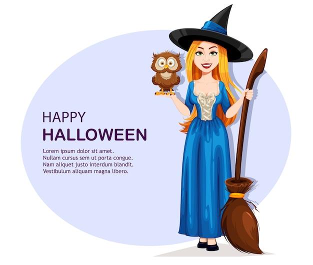 Felice halloween. gufo della holding della bella strega Vettore Premium