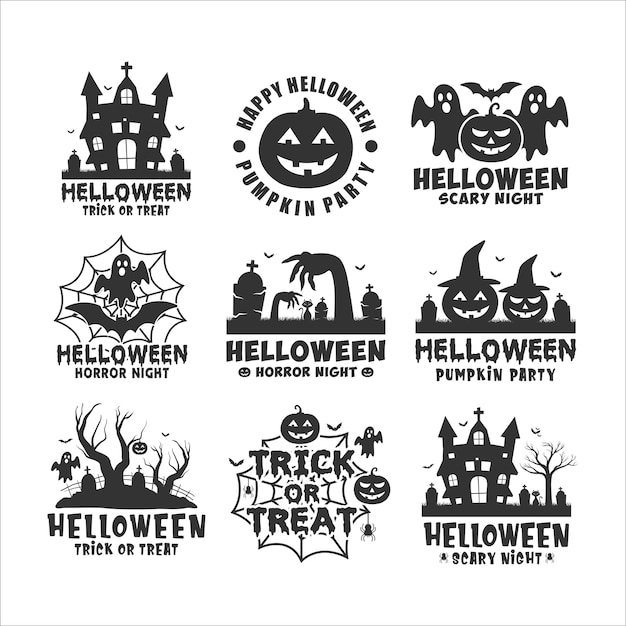 Happy halloween nero logo bianco Vettore Premium