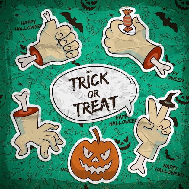 Scheda felice di halloween con la zucca di gesti delle armi di zombie di carta Vettore Premium
