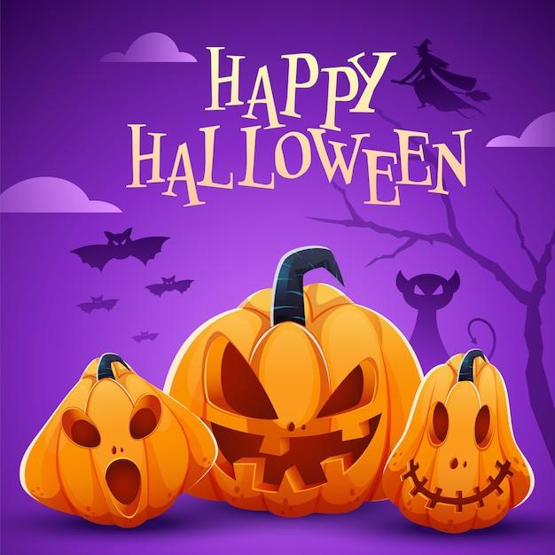 Poster di celebrazione di halloween felice con jack-o-lanterns, gatto spaventoso, strega e pipistrelli che volano su sfondo viola. Vettore Premium