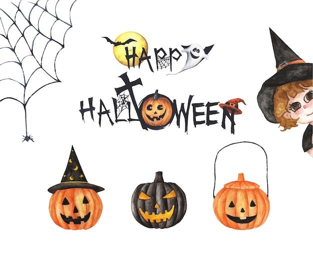 Collezione happy halloween. pittura ad acquerello disegnato a mano su bianco, elementi di design creativo, decorazioni stampabili. Vettore Premium