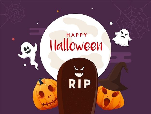 Concetto felice di halloween con i fantasmi dei cartoni animati rip stone e jackolanterns Vettore Premium