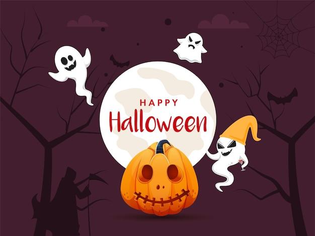 Felice concetto di halloween con illustrazioni di zucca e fantasmi Vettore Premium