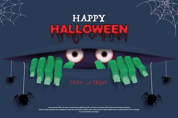 Felice halloween. illustrazione di zombie raccapricciante Vettore Premium