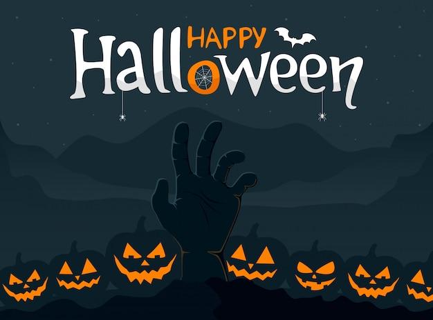 Cartolina d'auguri di halloween felice con la mano di zombie spettrale e zucche spaventose. illustrazione vettoriale. Vettore Premium