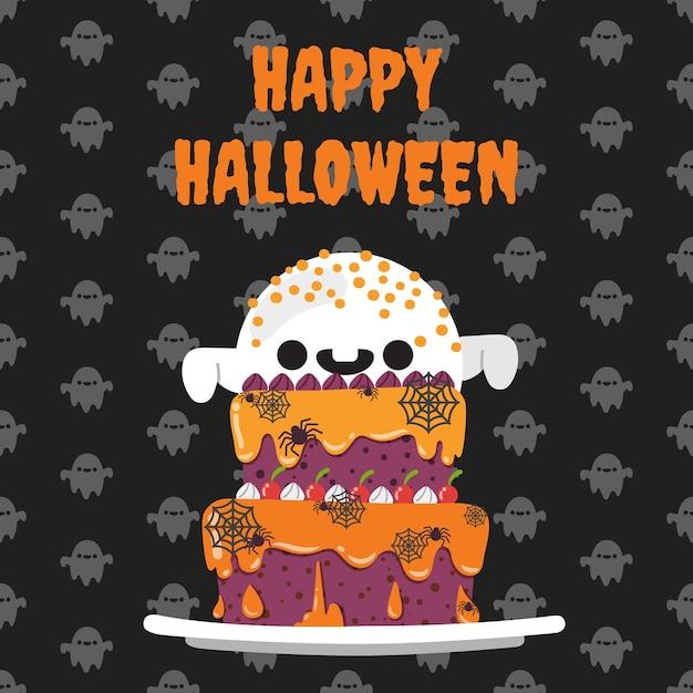 Felice halloween torta di halloween su sfondo. Vettore Premium