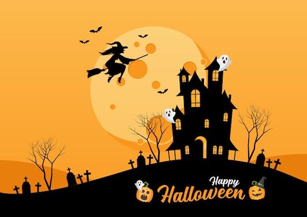 Happy halloween haunted house. strega che vola sopra l'illustrazione della luna Vettore Premium