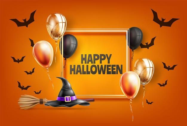Felice manifesto di festa di halloween con il nero Vettore Premium