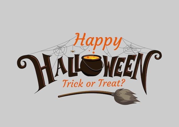 Iscrizione di halloween felice. calligrafia di vacanza. Vettore Premium