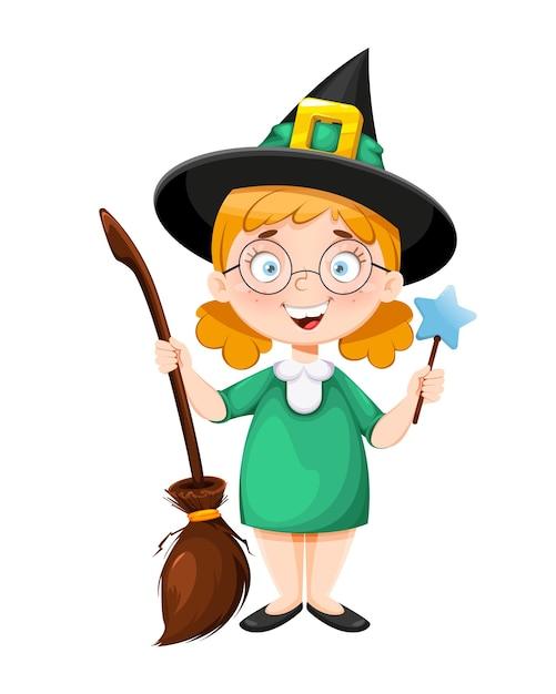 Felice halloween. piccola strega sorridente Vettore Premium
