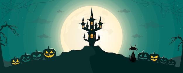 Priorità bassa felice del paesaggio di notte di halloween con la luna e il castello spaventoso. Vettore Premium