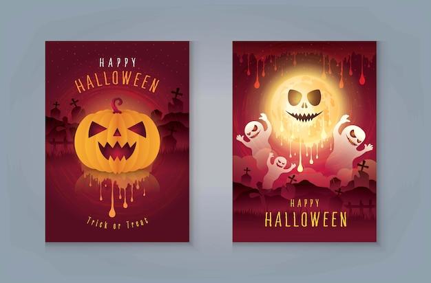 Happy halloween night party, ghost con cimitero e luna. zucche di halloween con sangue. Vettore Premium