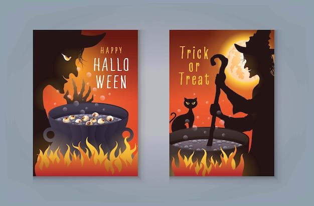 Happy halloween night party, strega di halloween che prepara pozione magica nel calderone. la vecchia strega con il gatto prepara una pozione magica e la luna piena per la scheda dell'invito. Vettore Premium