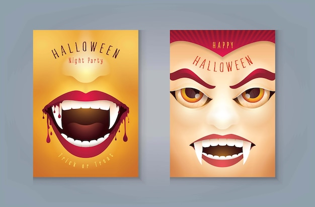 Happy halloween party, abstract halloween scary vampire bocca con sangue, conte dracula vampire mask. Vettore Premium