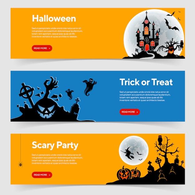 Modello di banner festa di halloween felice Vettore Premium