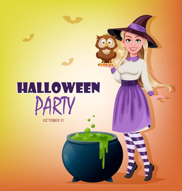 Felice invito a una festa di halloween. bella strega Vettore Premium