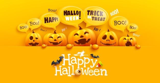 Felice modello di poster e banner di halloween con zucca di halloween carina e messaggio di bolla gialla in cima. sito inquietante, Vettore Premium