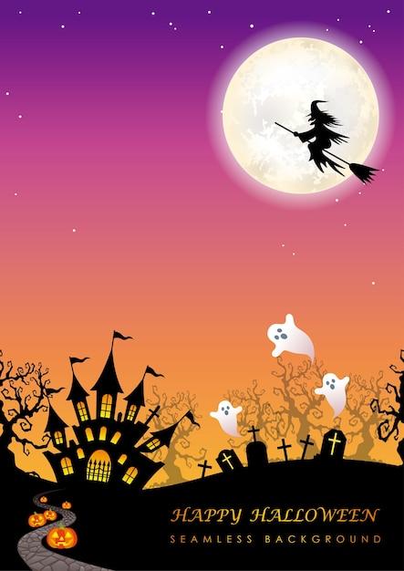 Illustrazione senza giunte felice di halloween con la luna Vettore Premium