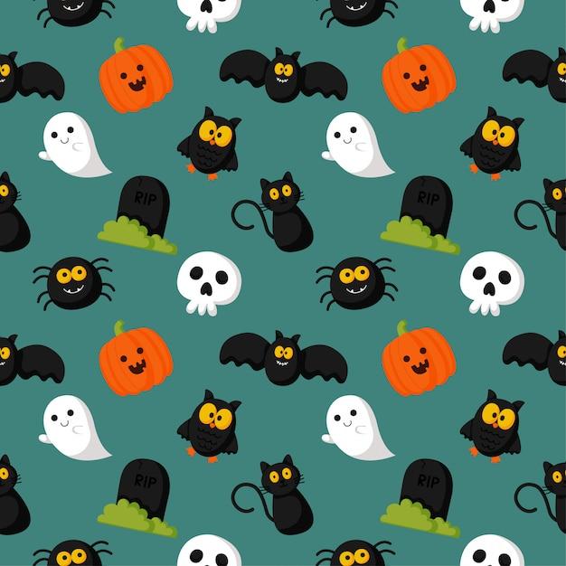 Felice halloween seamless pattern su sfondo verde. Vettore Premium