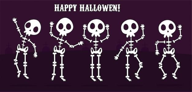 Felice halloween imposta scheletri, personaggio ossuto di scheletro di cartone animato Vettore Premium