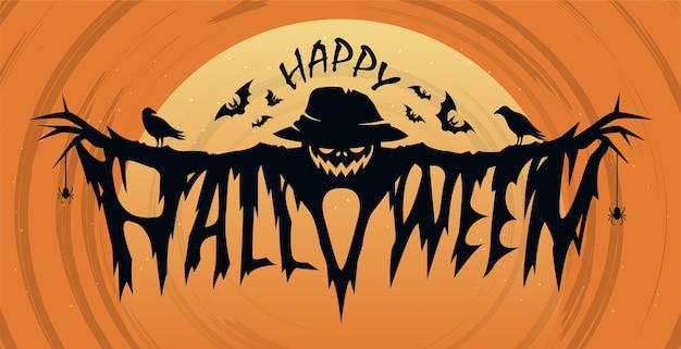 Felice concetto di design del testo di halloween Vettore Premium