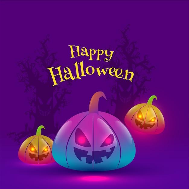 Testo di halloween felice con jack-o-lanterns in effetto luci sfumate Vettore Premium